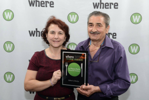 Chef Claudio receiving the where to dine award